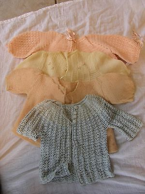 Lot of 4 Vintage Baby Kids Clothes Handmade Cardigan Sweaters