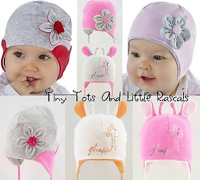 Baby Girls Toddlers Spring Autumn Cotton Elastic Hat Size 0 -24 months 2-4 years