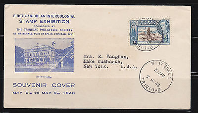 Trinidad and Tobago Cover to New York, Scott 55 from 1948 1st Stamp Exhibition
