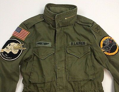 Denim Supply Ralph Lauren Men Military Army American Flag Skull Head Coat Jacket
