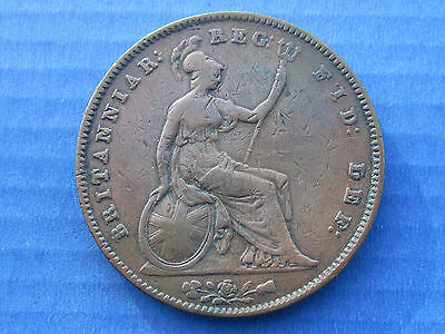 1854 PENNY QUEEN VICTORIA QV Young Head COPPER COIN 1d Great Britain ENGLISH