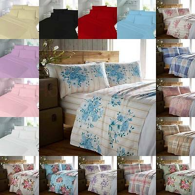 Flannelette  Sheet Set 100% Brushed Cotton In Single Double King Sizes