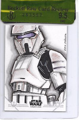 2016 Star Wars Rogue One Stormtrooper Sketch Card 1/1 By Eric Muller Beauty!