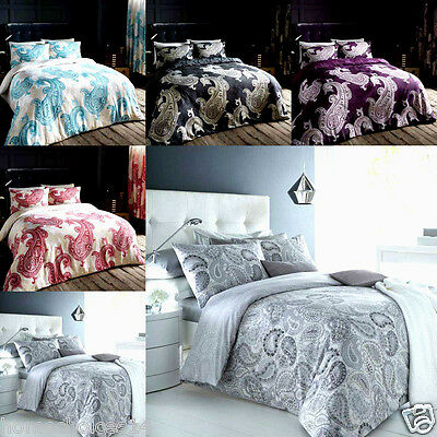 Paisley Duvet Cover With Pillow Cases Bedding Set Single Double King Super King
