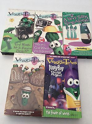 Lot of 5 Vhs Video Veggie Tales Giant Pickle Rumor Weed Silly Sing Along I'm Sca