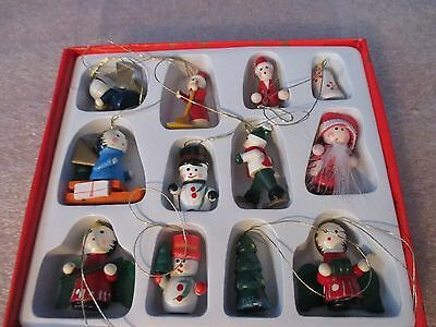 Lot of 12 MINIATURE WOODEN CHRISTMAS ORNAMENTS in Box