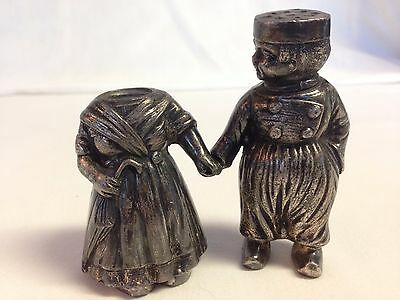 Antique M.W. Carr & Co. Silver Plated Dutch Boy And Girl Salt And Pepper Shakers