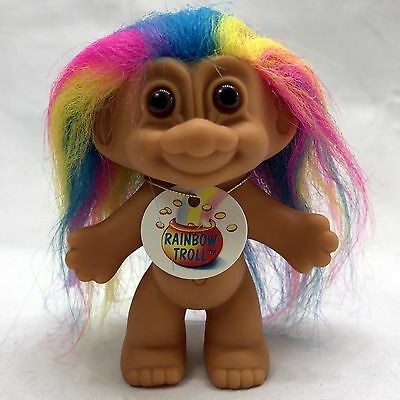 Russ Good Luck Trolls  Rainbow Hair With Tag Store Sticker Nude