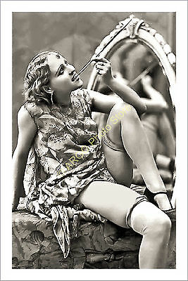 p162 GLAMOUR female 1920s risque pretty girl flapper smoking lingerie photo