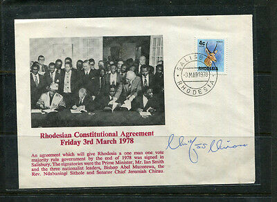 Rhodesia Africa Rare 1978 Illustrated Stamp Cover Signed By Chief Chirau