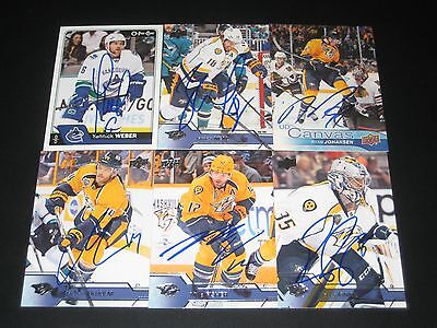 """YANNICK WEBER autographed '16/17 VANCOUVER CANUCKS """"O-Pee-Chee"""" card"""