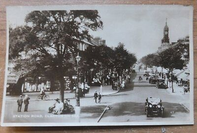 Early RP Postcard,Station Road,Clacton on Sea,Essex,Motor Cars