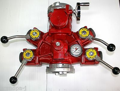 """Fire Hose 5"""" Storz Gated Manifold Valve w/ 4ea 2-1/2"""" outlet and pressure gage"""