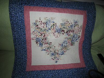 Beautiful Cotton Square Quilt Wall Hanging 27 By 27  Heart Shaped
