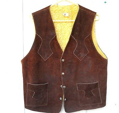 Vintage Men's Brown Leather Snap Hippy Vest With Fleece Lining Size Men's Medium