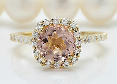 2.72CTW Natural MORGANITE and DIAMOND in 14K Solid Yellow Gold Women Ring