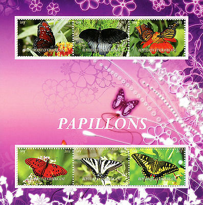 Central African Republic 2015 MNH Butterflies 6v M/S Insects Stamps