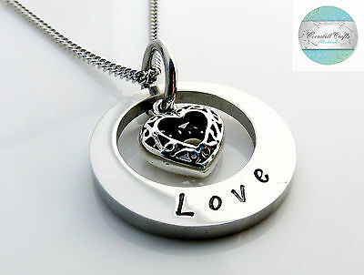 Small Hand Stamped Silver Names necklace with love heart charm Personalised Gift