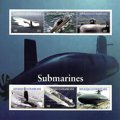 Central African Republic 2015 CTO Submarines 6v M/S Boats Ships Stamps