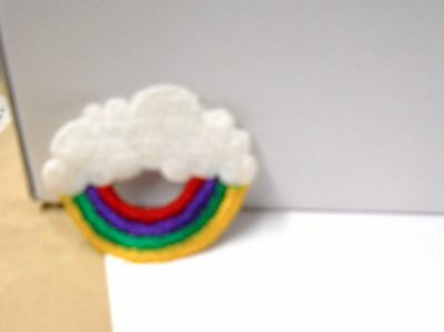 """Classic  """" Clouds And Rainbow""""  Iron Or Sew On Patch 2"""" In Diameter"""