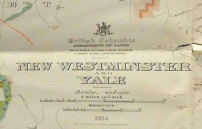 1914 British Columbia Map of Westminster and Yale - 31.5 x 42 Inches