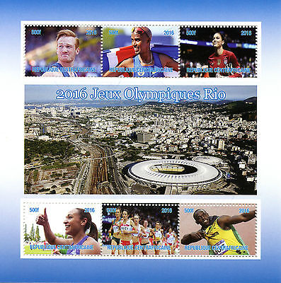 Central African Republic 2016 CTO Rio Olympics 6v M/S Usain Bolt Mo Farah Stamps
