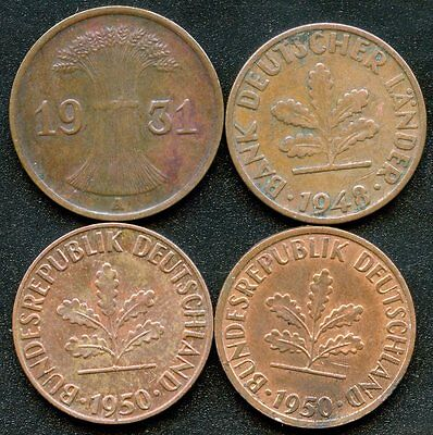 Germany 1931'A'  1948'D' 1950'F' & 1950'J' 1 Pfenning Coins