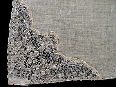 "EXQUISITE 12 Unused French ALENCON Lace Irish Linen Napkins 17"" Vintage"