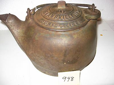 Antique Cast Iron Tea Kettle Brinkmeyer and Co. Patented 6/23/1863. Inv948