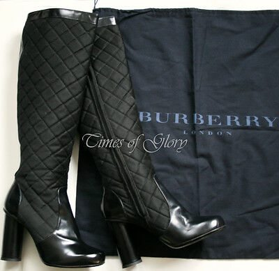 Burberry London Ladies Black QUILTED Leather Knee High Boots Shoes Size 38 UK5