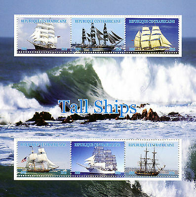 Central African Republic 2016 CTO Tall Ships 6v M/S Sailing Boats Stamps