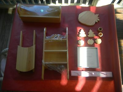Lot of Unpainted Wooden Pine for Craft Tole Painting