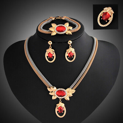 Crystal Alloy 18K Gold Plated Bridal Necklace Earring Bracelet Ring Jewelry Set