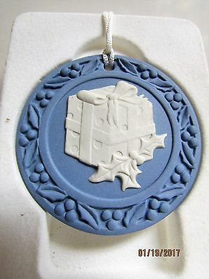 Wedgwood Blue & White Jasperware Christmas Present & Holly Hanging Tree Ornament