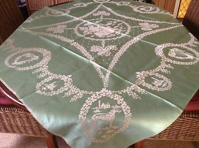 Vintage Demask Tablecloth With Beautiful Scenery