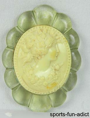Vintage Celluloid Green Lucite Cameo 3D Brooch Pin