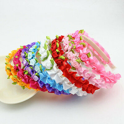 1 Pcs Rose Headband Fashion Kids Flower Hair Accessories for Girls 8 Colors EF