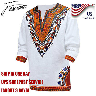 Dashiki T-Shirt African Tribal Men Succinct Hippie Top Blouse White Tee