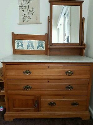 Antique marble top solid wood dresser with mirror
