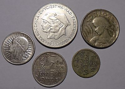 Poland and Danzing/Gdansk - Set of Five Silver Coins
