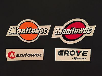 Lot Of 4 Manitowoc And Grove Crane Hardhat sticker Union Iron Workers stickers