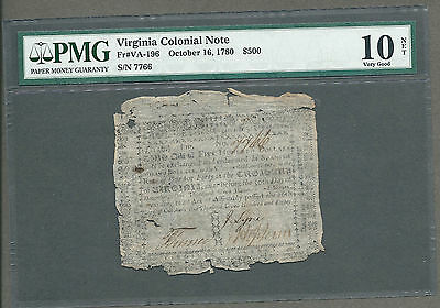 October 16, 1780 $500 Virginia Colonial Note Graded PMG Very Good 10 - RARE!!!