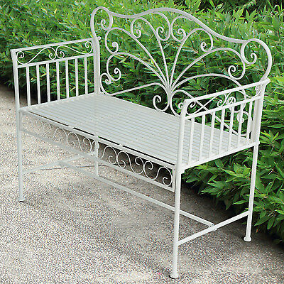 Outsunny Garden 2 Seater Metal Bench Park Seating Outdoor Furniture White