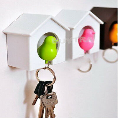 Stylish Lover Sparrow Key Ring Birdhouse Gadget Home Wall Hook Holder KeychainEF