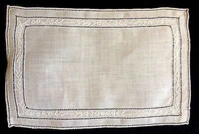 Ten Antique Cocktail Napkins Swiss Appenzell Embroidery Drownwork Hand Made