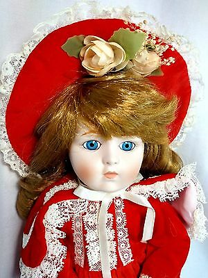 "Dynasty Collection QVC Vintage Sabrina Red Flower 14"" Porcelain Bisque Doll MIB"
