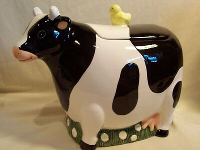 Cooks Club Ceremic Holstein Cow Cookie Jar With Chick On Lid - Euc - Clean