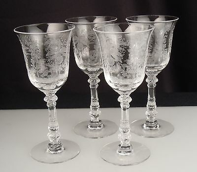 """Heisey Orchid Etched Crystal Wine Glasses 5.25""""- Set of 4"""