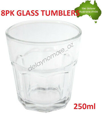 250ml Glass Tumblers Water Cup Whiskey Cups Drinking Tumbler Glasses 8pk Party