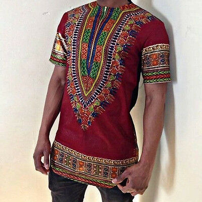 Men Dashiki Print African Short Sleeve Shirt Tribal Succinct Hippie Top Blouse